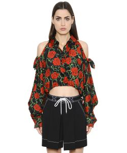 Alexander Wang | Roses Printed Silk Twill Cropped Shirt