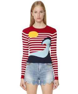Red Valentino | Viscose Knit Intarsia Wave Sweater