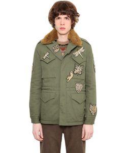 Roberto Cavalli | Куртка Из Габардина С Искусственным Мехом