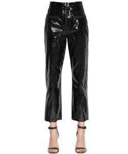 SELF-PORTRAIT | Zip Front Faux Patent Leather Pants