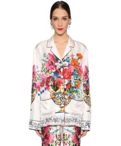 Dolce & Gabbana | Рубашка Из Шёлковой Саржи С Принтом Bouquet