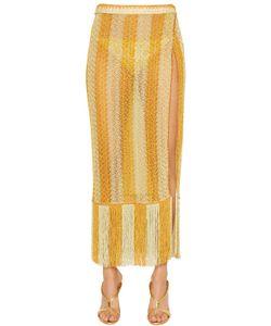 Missoni | Striped Lace Knit Midi Skirt With Fringe