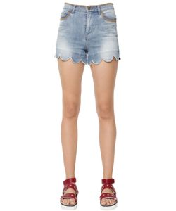 Red Valentino | Denim Shorts W Stitches Scallop Hem
