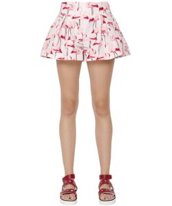 Red Valentino | Flamingo Printed Faille Shorts