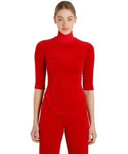 VETEMENTS | Juicy Cotton Velvet Turtleneck Top
