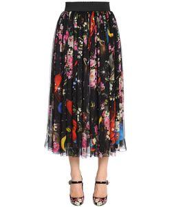 Dolce & Gabbana | Шифоновая Юбка С Принтом Цветы И Космос
