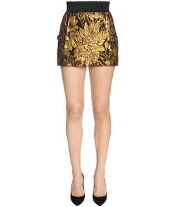 Dolce & Gabbana | Мини-Юбка Из Жаккарда И Люрекса С Цветочным Узором