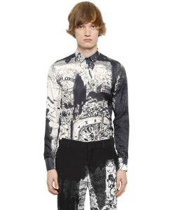 Alexander McQueen | Рубашка Из Хлопковой И Шёлковой Саржи С Принтом