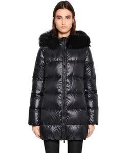 Duvetica | Пальто Kappa Due Из Блестящего Нейлона С Мехом