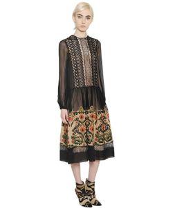 Alberta Ferretti | Платье Из Шифона С Вишивкой И Кружевом