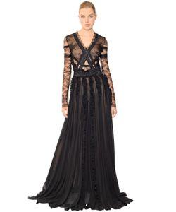 Antonio Berardi | Платье Из Кружева Шантильи И Жоржета