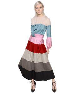 Blumarine | Платье Из Атласного Шифонового Джерси И Ламé