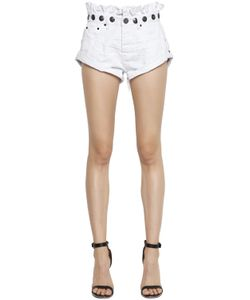 One Teaspoon | Le Bandits Studded Ruffled Denim Shorts