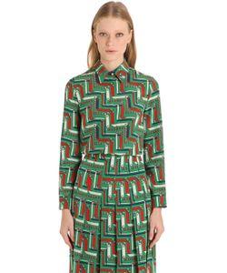 Gucci   Рубашка Из Шёлкового Креп-Кади С Принтом