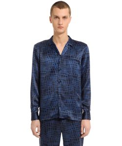 Trussardi | Рубашка Из Шёлкового Атласа С Принтом