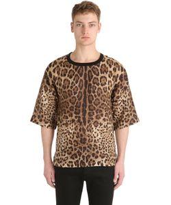 Dolce & Gabbana | Льняная Футболка С Леопардовым Принтом