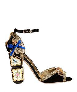 BIANCA BALTI FOR LUISAVIAROMA | Бархатные Босоножки От Dolce Gabbana