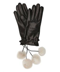 MARIO PORTOLANO | Кожаные Перчатки С Меховыми Помпонами