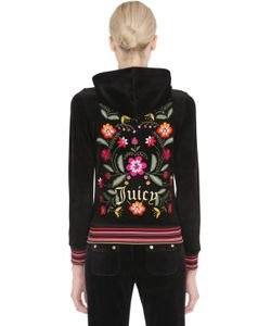 Juicy Couture | Свитшот Из Велюрового Джерси С Цветочной Вышивкой