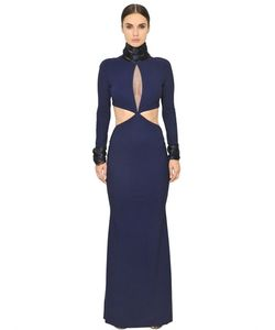 Francesca Piccini | Embroidered Cut Out Techno Jersey Gown