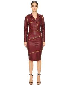 Francesca Piccini | Paneled Smooth Leather Jacket Dress