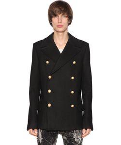 Balmain   Двубортное Шерстяное Пальто