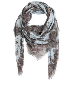 Alexander McQueen | Wildflower Flight Print Fringed Scarf