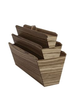VITRUVIO DESIGN | Zebra Wood Magazine Holder