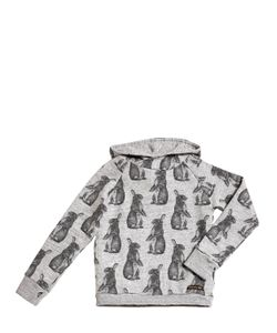 FINGER IN THE NOSE | Hooded Bunny Printed Cotton Sweatshirt