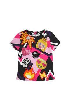 PHILIPP PLEIN JUNIOR   Swarovski Embellished Cotton T-Shirt