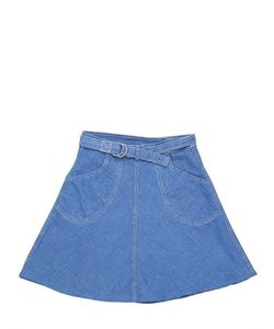 CARAMEL BABY AND CHILD   Wrap Style Linen Blend Chambray Skirt