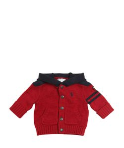 RALPH LAUREN CHILDRENSWEAR | Embroidered Logo Tricot Cotton Cardigan