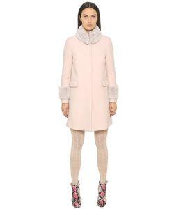 Blugirl | Wool Cloth Coat With Rabbit Fur Details