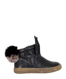 Ocra | Embossed Leather Sneakers W/ Fur Pompom