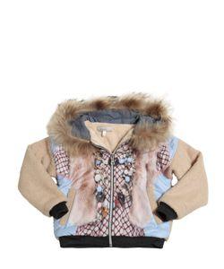 Venera Arapu   Wool Boucle Jacket With Faux Fur