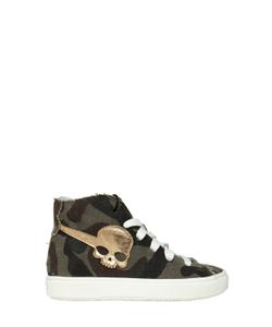 HYDROGEN KID | Camo Printed Cotton Canvas Sneakers