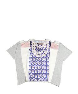 Venera Arapu | Printed Silk Satin Cotton Jersey Top