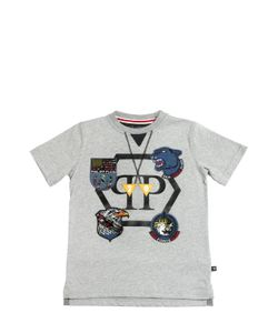 PHILIPP PLEIN JUNIOR   Cotton Jersey T-Shirt W/ Patches