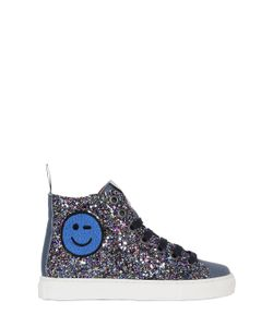 MAÁ | Glittered Leather High Top Sneakers