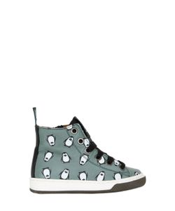 MAÁ | Penguins Print Leather High Top Sneakers