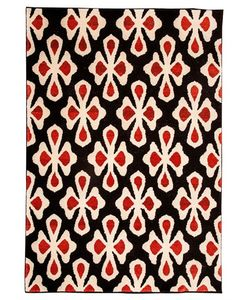LES OTTOMANS | Red Flower Wool Rug