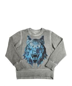 Diesel Kids | Wolf Printed Faded Cotton Sweatshirt