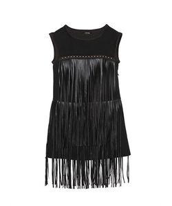 JAKIOO | Neoprene Dress W/ Faux Leather Fringe