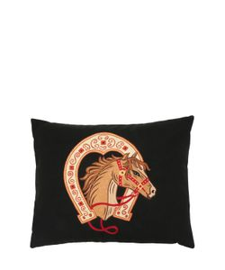 LORETTA CAPONI | Horse Embroidered Wool Pillow