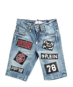 PHILIPP PLEIN JUNIOR   Wrinkled Washed Cotton Shorts