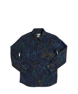 Paul Smith Junior | Bicycle Printed Cotton Poplin Shirt