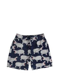 Mini Rodini | Hippo Printed Lycra Swim Shorts