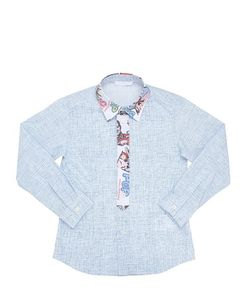 TAGLIATORE JUNIOR   Woven Printed Cotton Poplin Shirt