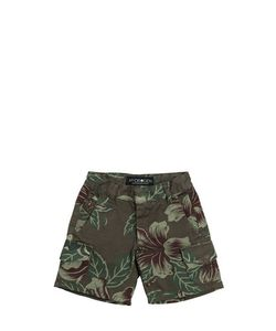 HYDROGEN KID | Floral Printed Cotton Cargo Shorts
