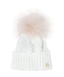 YVES SALOMON ENFANT | Tricot Hat W/ Murmansky Fur Pompom